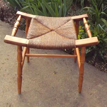 Mid Century Modern Stool, 1950s vintage Woven Wooden Footstool, Camp and Cabin Home Decor