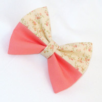 Hair Bow Lorettajos EXCLUSIVE Two Toned Coral with Flowers Clip Rockabilly Pin up Teen Woman E210501 V