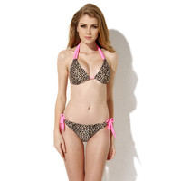 Leopard with Pink Halter Strappy Bikini