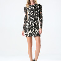 bebe Womens Sequin Mesh Dress Black Tan