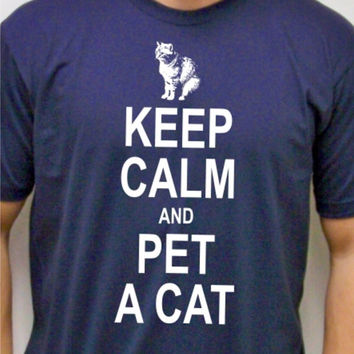 Cat Shirt / Mens t shirt / Keep Calm and Pet a Cat / Real Men Love Cats / cool typography t-shirt / animal rescue / cat lover / hipster