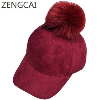 Trendy Winter Jacket New Corduroy Baseball Cap With Faux Fur Pompon Suede Hat Winter Warm Women Baseball Caps Casual Fashion Hip Hop Snapback Hats AT_92_12