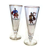 Vintage Pilsner Glasses - Libbey  -Scottish Wallace Highlander and Hamilton Highlander- Beer Glasses -Breweriana - Set of 2 - Retro Barware