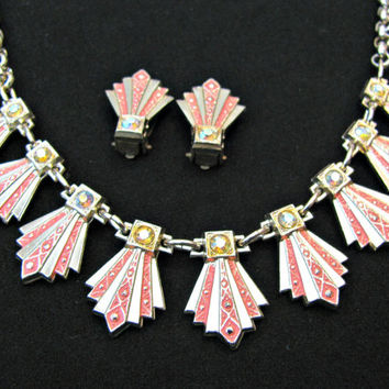 Art Deco Necklace and Earring Set, Fan Motif, Coral Pink, Eloxal Aluminum Alloy,  AB Rhinestones, Gold and Silver Mix, West Germany