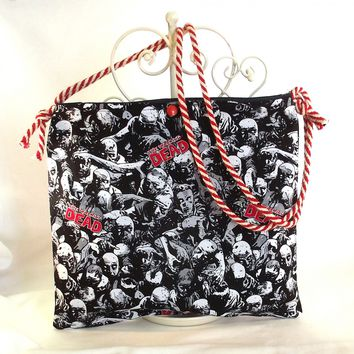 Handmade Zombie Bag, Small Tote,  Novelty Purse, Walking Dead