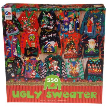 Ceaco Christmas Ugly Sweater Jigsaw Puzzle 550 Pc Puzzle 24x18 Tree Santa Xmas