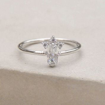 Baguette Crown Ring - Silver