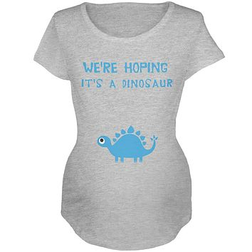 We're Hoping It's a Dinosaur Boy Maternity Soft T Shirt