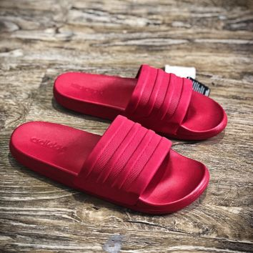 Adidas Benassi Swoosh Sandals Style #9 Red Slippers Sale