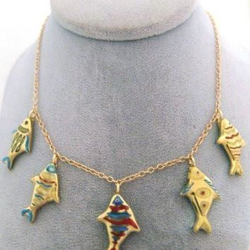 Swimming Fish Necklace Limoges Boxes