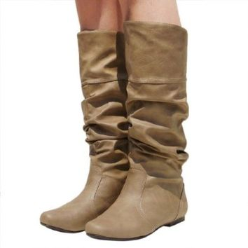 Women's Qupid Cognac Leatherette Basic Slouchy Knee High Flat Boot (Neo144),Neo-144v3.0 Taupe PU 5.5