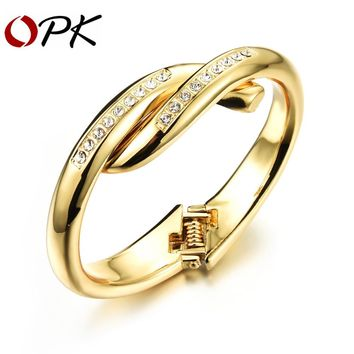 OPK Personality Gold Color Woman Bangles Cute AAA+ Cubic Zirconia Luxury Women Wedding Jewelry Gift KH496