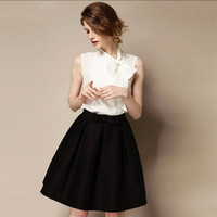 High Quality 2016 New Women's OL Retro Bow Skirts Autumn Winter Fashion Plus Size High Waist Knee-length A-line Skirt Bust Skirt