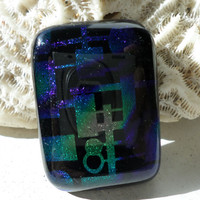 Dichroic Purple Green Blue Geometic Cabochon Cab Pendant Fused Glass Focal Bead Upgrade tp necklace available