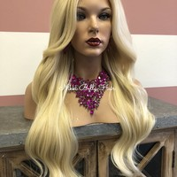 Long Blond lace front wig | Large Barrel Curls | Layered Bangs |Fortunate|  51839