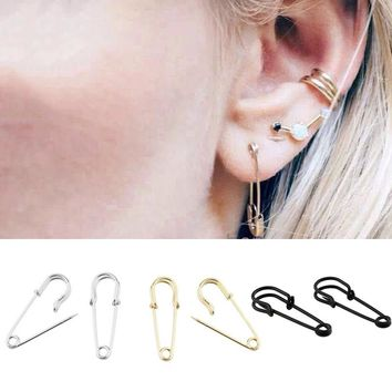 2018 New jewelry Safety Pin Puncture Earring Exquesite Allergy Free Wedding 1Pair Golden/Silvery/Black earrings for women brinco