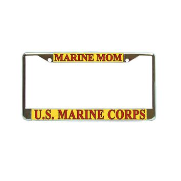 US Marines Mom Chrome Metal License Plate Frame Car Tag Holder