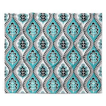 "Jacqueline Milton ""Oak Leaf - Turquoise"" Floral Blue Fleece Throw Blanket"