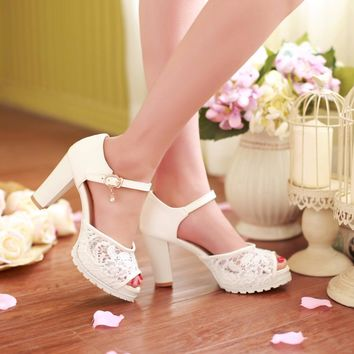 KEBEIORITY High Heel Shoes Woman Ankle Strap Platform Sandals Summer Pink White Wedding Shoes Pumps Women Sandalias