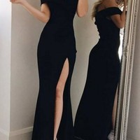 Black Mermaid Off Shoulder Irregular Side Slit Boat Neck Prom Elegant Maxi Dress