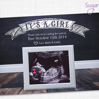 Pregnancy Announcement Card, It's a girl, Pregnancy announcement, Pregnancy Announcement Idea, Printable Pregnancy, Ultra sound Announcement