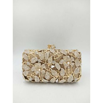 Gold Pearl Rhinestone Lily Evening Bag