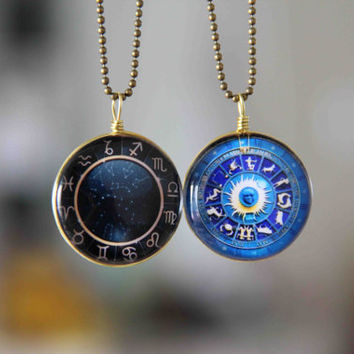 couples necklace astrolabe necklace 12 zodiac symbol necklace 2-sided sweater necklace boyfriend girlfriend gift personalized couple jewelry