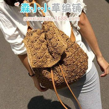 5pcs/lot Vintage women bag Backpack Designer Hollow Out Woven Drawstring Laides Bags Summer Beach Backpacks straw bag