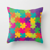 Colorful Jigsaw Puzzle Pattern Throw Pillow by 1986