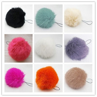 Soft Rabbit Fur Ball Key chains Mobile phone Plug backpack bags decorations