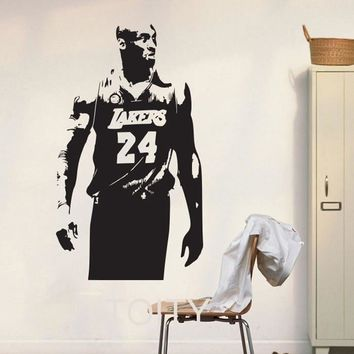 lakers kobe bryant wall art sticker nba basketball poster graphic decal decor school dorm living room bedroom home mural stencil  number 1