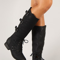 Wild Diva Lounge Jetta-40 Buckle Lace Up Military Knee High Boot