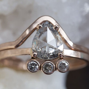 One of a Kind Clear Salt + Pepper Diamond Cluster Ring