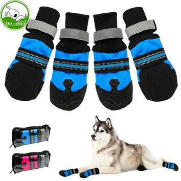 4pcs Waterproof Winter Pet Dog Shoes Anti-slip Snow Pet Boots Paw Protector Warm Reflective For Medium Large Dogs Labrador Husky