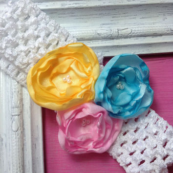 chooose your colors, satin flower headbands, baby headbands, infant headbands, satin headbands, newborn headbands, little girl hair clips