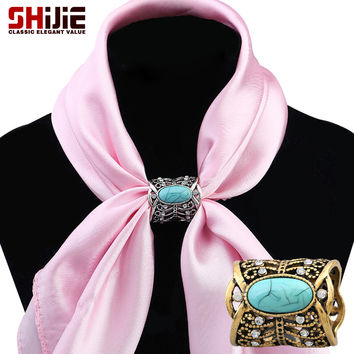 Hot!! selling buy now.. scarf buckle love turquoise hollow butterfly scarf brooches for women gold silver brooch pin Shijie
