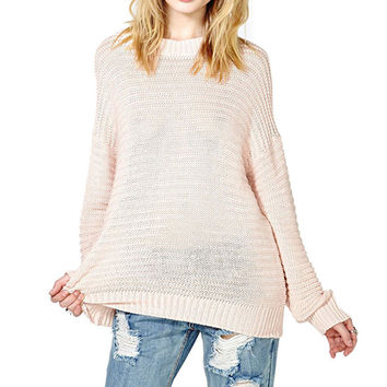 Long Sleeve Solid Pale Pink Knitting Sweater LAVELIQ