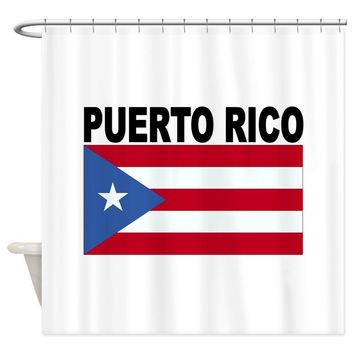 Warm Tour Puerto Rico Flag Shower Curtain Fabric Polyester Waterproof Bathroom Curtains