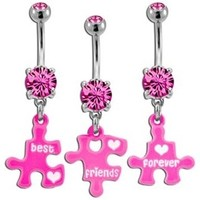 Pink Best Friends Forever Puzzle Belly Button Rings