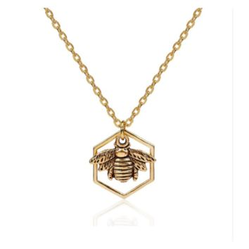 Gold Plated & Antique Gold Color Honeycomb Bee Hollow Pendant Necklace