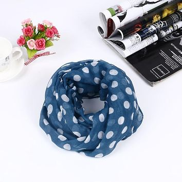 Guttavalli New Arrival Fashion Women Dot Ring Scarves Small Print Dots Loop Shawl Female Round Soft Infinity Nice Chevron Scarf