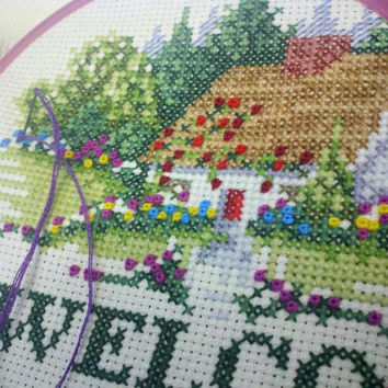 Welcome Cottage, Completed Cross Stitch, Completed, Flower Garden, Cabin, Welcome Sign, Wall Art