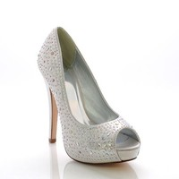 Silver Shimmer Lorica Rhinestone-Bedazzled Peep Toe High Heel Pumps