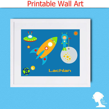 Printable Wall Art 8x10 - DIY Editable Personalized Outer Space Boy's Room