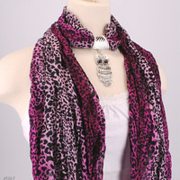Purple Leopard Animal Print Scarf Owl Pendant Charm Bail Slide Beaded Scarves Necklace by Creations by Terra