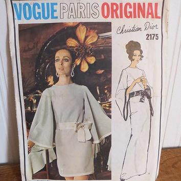 Sewing Pattern Vogue 2175 Vintage 1960s Christian Dior Designer Evening or Cocktail Dress