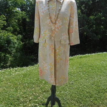 80s, Amanda Smith Petites Dressy Long Line Jacket - Flower Print, Lined, Elegant, Long Sleeve, Buttoned Front With Collar, Size 12P