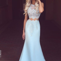 Mermaid Blue Prom Dress,Two Pieces Prom Dresses,Evening Dresses