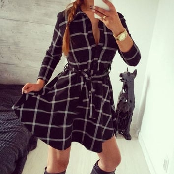 2015 Leisure Vintage Dresses Autumn Fall Women Plaid Check Print Spring Casual Shirt Dress Mini