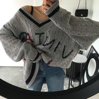 Fashion Embroidery Letter Multicolor Stripe V-Neck Long Sleeve Loose Sweater Women Tops